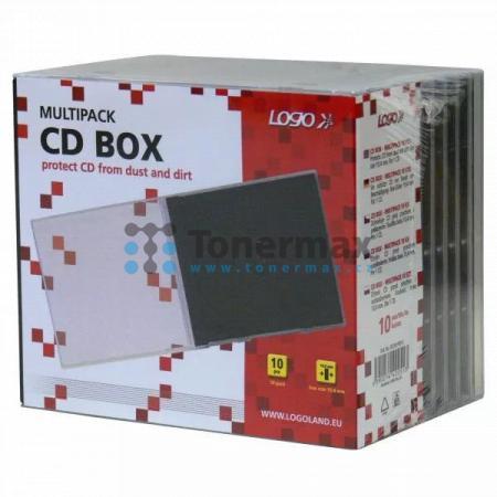 Box na 1 ks CD, průhledný, černý tray, LOGO, 10-pack