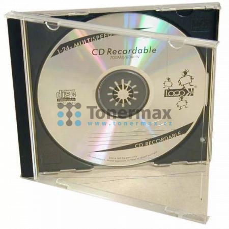 Box na 1 ks CD, průhledný, černý tray, LOGO, 2-pack