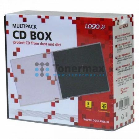 Box na 1 ks CD, průhledný, černý tray, LOGO, 5-pack