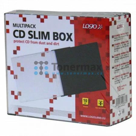 Box na 1 ks CD, průhledný, černý tray, tenký, LOGO, 5,2mm, 10-pack