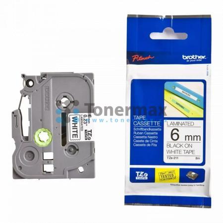 Brother TZe-211, 6 mm, laminovaná bílá páska / černý tisk originální pro tiskárny Brother P-touch 18R, PT-18R, P-touch 550, PT-550, P-touch 900, PT-900, P-touch 1000, PT-1000, P-touch 1010, PT-1010, P-touch 1080, PT-1080, P-touch 1090, PT-1090, P-touch 12