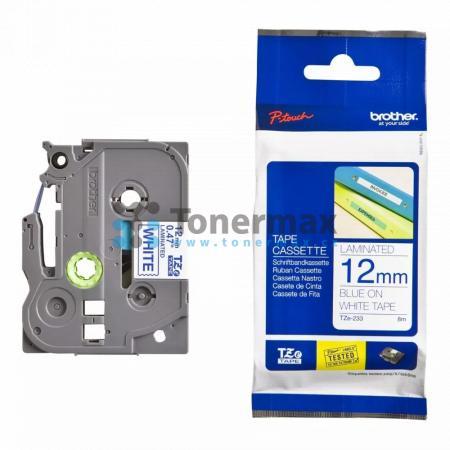Brother TZe-233, 12 mm, laminovaná bílá páska / modrý tisk originální pro tiskárny Brother P-touch 18R, PT-18R, P-touch 550, PT-550, P-touch 900, PT-900, P-touch 1000, PT-1000, P-touch 1010, PT-1010, P-touch 1080, PT-1080, P-touch 1090, PT-1090, P-touch 1