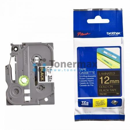 Brother TZe-334, 12 mm, laminovaná černá páska / zlatý tisk originální pro tiskárny Brother P-touch 18R, PT-18R, P-touch 550, PT-550, P-touch 900, PT-900, P-touch 1000, PT-1000, P-touch 1010, PT-1010, P-touch 1080, PT-1080, P-touch 1090, PT-1090, P-touch