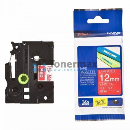 Brother TZe-435, 12 mm, laminovaná červená páska / bílý tisk originální pro tiskárny Brother P-touch 18R, PT-18R, P-touch 550, PT-550, P-touch 900, PT-900, P-touch 1000, PT-1000, P-touch 1010, PT-1010, P-touch 1080, PT-1080, P-touch 1090, PT-1090, P-touch