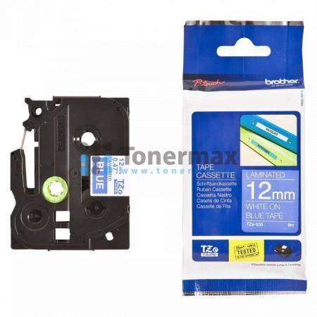 Brother TZe-535, 12 mm, laminovaná modrá páska / bílý tisk originální pro tiskárny Brother P-touch 18R, PT-18R, P-touch 550, PT-550, P-touch 900, PT-900, P-touch 1000, PT-1000, P-touch 1010, PT-1010, P-touch 1080, PT-1080, P-touch 1090, PT-1090, P-touch 1