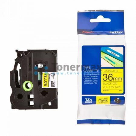 Brother TZe-661, 36 mm, laminovaná žlutá páska / černý tisk originální pro tiskárny Brother P-touch 550, PT-550, P-touch 3600, PT-3600, P-touch 9200DX, PT-9200DX, P-touch 9200PC, PT-9200PC, P-touch 9400, PT-9400, P-touch 9500PC, PT-9500PC, P-touch 9600, P