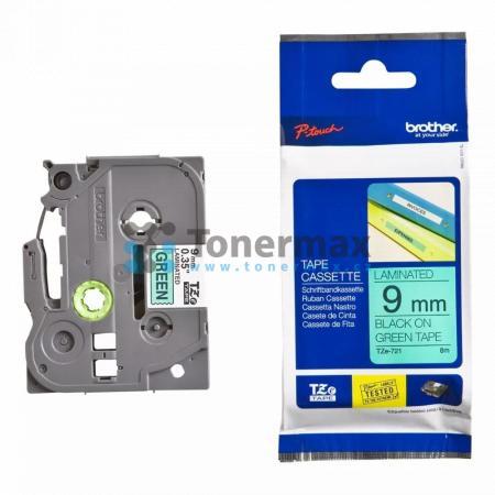 Brother TZe-721, 9 mm, laminovaná zelená páska / černý tisk originální pro tiskárny Brother P-touch 18R, PT-18R, P-touch 550, PT-550, P-touch 900, PT-900, P-touch 1000, PT-1000, P-touch 1010, PT-1010, P-touch 1080, PT-1080, P-touch 1090, PT-1090, P-touch