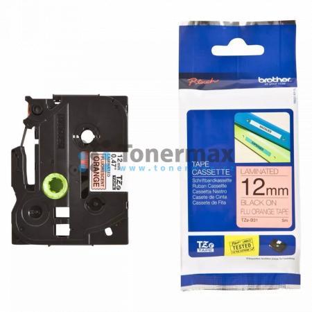 Brother TZe-B31, 12 mm, laminovaná signální oranžová páska / černý tisk originální pro tiskárny Brother P-touch 18R, PT-18R, P-touch 550, PT-550, P-touch 900, PT-900, P-touch 1000, PT-1000, P-touch 1010, PT-1010, P-touch 1080, PT-1080, P-touch 1090, PT-10