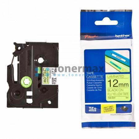 Brother TZe-C31, 12 mm, laminovaná signální žlutá páska / černý tisk originální pro tiskárny Brother P-touch 18R, PT-18R, P-touch 550, PT-550, P-touch 900, PT-900, P-touch 1000, PT-1000, P-touch 1010, PT-1010, P-touch 1080, PT-1080, P-touch 1090, PT-1090,