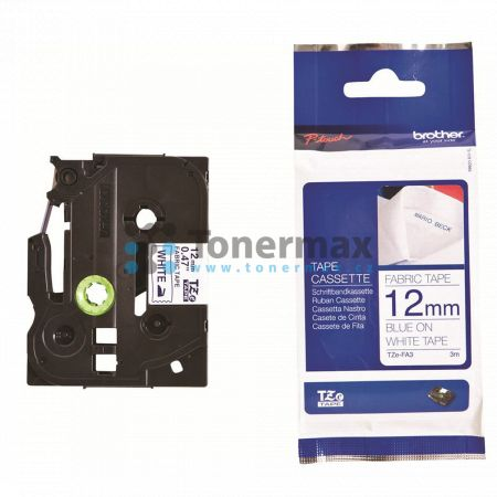 Brother TZe-FA3, 12 mm, zažehlovací bílá páska / modrý tisk originální pro tiskárny Brother P-touch 18R, PT-18R, P-touch 550, PT-550, P-touch 900, PT-900, P-touch 1000, PT-1000, P-touch 1010, PT-1010, P-touch 1080, PT-1080, P-touch 1090, PT-1090, P-touch
