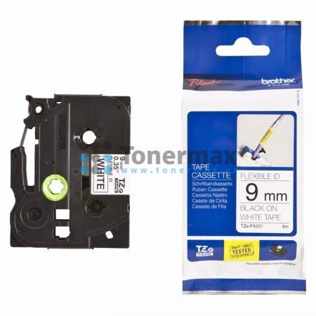 Brother TZe-FX221, 9 mm, flexibilní bílá páska / černý tisk originální pro tiskárny Brother P-touch 18R, PT-18R, P-touch 550, PT-550, P-touch 900, PT-900, P-touch 1000, PT-1000, P-touch 1010, PT-1010, P-touch 1080, PT-1080, P-touch 1090, PT-1090, P-touch