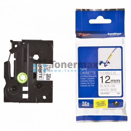 Brother TZe-FX231, 12 mm, flexibilní bílá páska / černý tisk originální pro tiskárny Brother P-touch 18R, PT-18R, P-touch 550, PT-550, P-touch 900, PT-900, P-touch 1000, PT-1000, P-touch 1010, PT-1010, P-touch 1080, PT-1080, P-touch 1090, PT-1090, P-touch