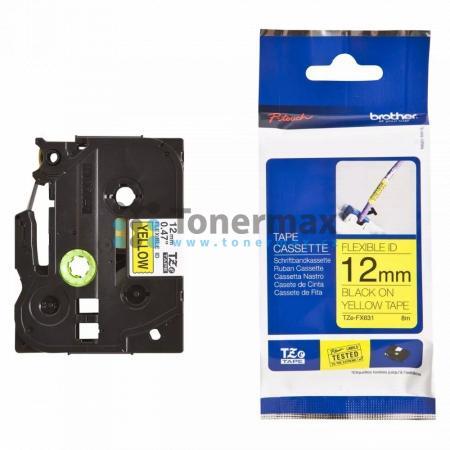 Brother TZe-FX631, 12 mm, flexibilní žlutá páska / černý tisk originální pro tiskárny Brother P-touch 18R, PT-18R, P-touch 550, PT-550, P-touch 900, PT-900, P-touch 1000, PT-1000, P-touch 1010, PT-1010, P-touch 1080, PT-1080, P-touch 1090, PT-1090, P-touc
