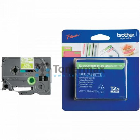 Brother TZe-MQG35, 12 mm, laminovaná matná limetkově zelená páska / bílý tisk originální pro tiskárny Brother P-touch 18R, PT-18R, P-touch 550, PT-550, P-touch 900, PT-900, P-touch 1000, PT-1000, P-touch 1010, PT-1010, P-touch 1080, PT-1080, P-touch 1090,