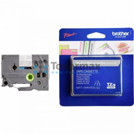 Brother TZe-MQL35, 12 mm, laminovaná matná světle šedá páska / bílý tisk originální pro tiskárny Brother P-touch 18R, PT-18R, P-touch 550, PT-550, P-touch 900, PT-900, P-touch 1000, PT-1000, P-touch 1010, PT-1010, P-touch 1080, PT-1080, P-touch 1090, PT-1
