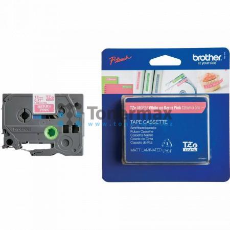 Brother TZe-MQP35, 12 mm, laminovaná matná bobulově růžová páska / bílý tisk originální pro tiskárny Brother P-touch 18R, PT-18R, P-touch 550, PT-550, P-touch 900, PT-900, P-touch 1000, PT-1000, P-touch 1010, PT-1010, P-touch 1080, PT-1080, P-touch 1090,