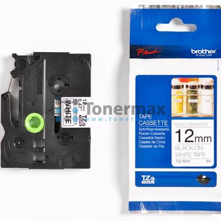 Brother TZe-N231, 12 mm, nelaminovaná bílá páska / černý tisk originální pro tiskárny Brother P-touch 18R, PT-18R, P-touch 550, PT-550, P-touch 900, PT-900, P-touch 1000, PT-1000, P-touch 1010, PT-1010, P-touch 1080, PT-1080, P-touch 1090, PT-1090, P-touc