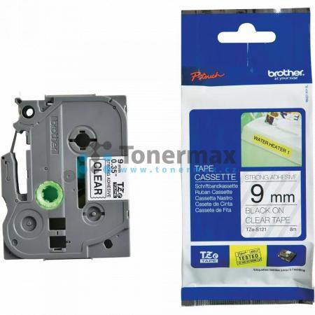 Brother TZe-S121, 9 mm, extrémně adhezivní laminovaná průhledná páska / černý tisk originální pro tiskárny Brother P-touch 18R, PT-18R, P-touch 550, PT-550, P-touch 900, PT-900, P-touch 1000, PT-1000, P-touch 1010, PT-1010, P-touch 1080, PT-1080, P-touch