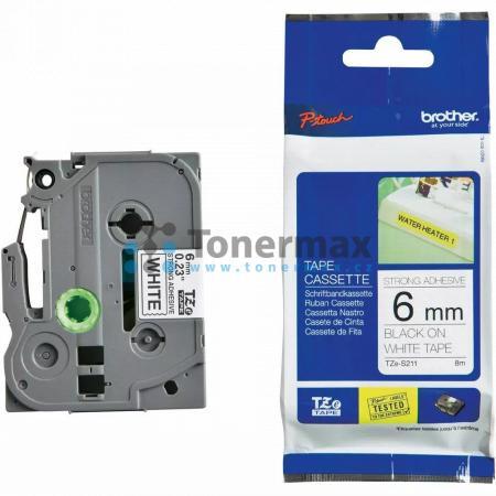 Brother TZe-S211, 6 mm, extrémně adhezivní laminovaná bílá páska / černý tisk originální pro tiskárny Brother P-touch 18R, PT-18R, P-touch 550, PT-550, P-touch 900, PT-900, P-touch 1000, PT-1000, P-touch 1010, PT-1010, P-touch 1080, PT-1080, P-touch 1090,
