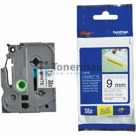 Brother TZe-S221, 9 mm, extrémně adhezivní laminovaná bílá páska / černý tisk originální pro tiskárny Brother P-touch 18R, PT-18R, P-touch 550, PT-550, P-touch 900, PT-900, P-touch 1000, PT-1000, P-touch 1010, PT-1010, P-touch 1080, PT-1080, P-touch 1090,