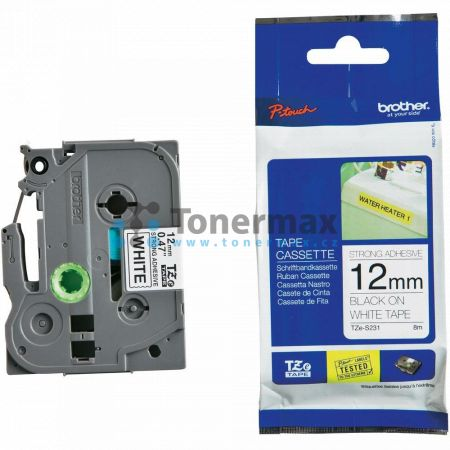 Brother TZe-S231, 12 mm, extrémně adhezivní laminovaná bílá páska / černý tisk originální pro tiskárny Brother P-touch 18R, PT-18R, P-touch 550, PT-550, P-touch 900, PT-900, P-touch 1000, PT-1000, P-touch 1010, PT-1010, P-touch 1080, PT-1080, P-touch 1090