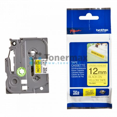 Brother TZe-S631, 12 mm, extrémně adhezivní laminovaná žlutá páska / černý tisk originální pro tiskárny Brother P-touch 18R, PT-18R, P-touch 550, PT-550, P-touch 900, PT-900, P-touch 1000, PT-1000, P-touch 1010, PT-1010, P-touch 1080, PT-1080, P-touch 109