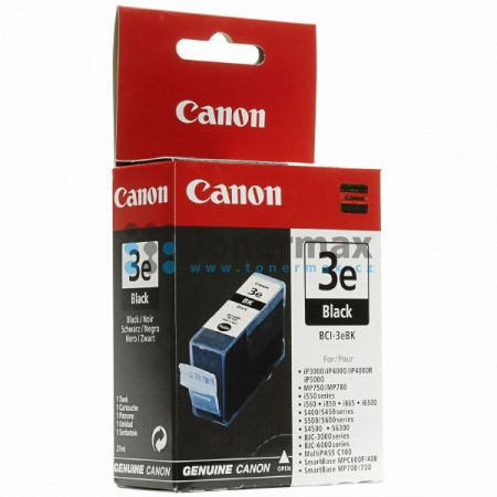 Canon BCI-3eBk, 4479A002, originální cartridge pro tiskárny Canon BJC-3000, BJC-6000, BJC-6100, BJC-6200, BJC-6200s, BJC-6500, MultiPASS C100, PIXMA MP750, PIXMA MP760, PIXMA MP780, PIXMA iP3000, PIXMA iP4000, PIXMA iP4000R, PIXMA iP5000, S400, S450, S500