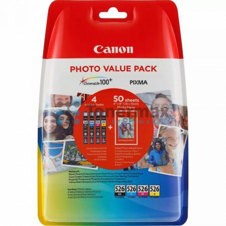 Canon CLI-526 Bk/C/M/Y + 50 x Photo Paper PP-201, 4540B017, originální cartridge pro tiskárny Canon PIXMA MG5150, PIXMA MG5250, PIXMA MG5350, PIXMA MG6150, PIXMA MG6250, PIXMA MG8150, PIXMA MG8250, PIXMA MX715, PIXMA MX885, PIXMA MX895, PIXMA iP4850, PIXM