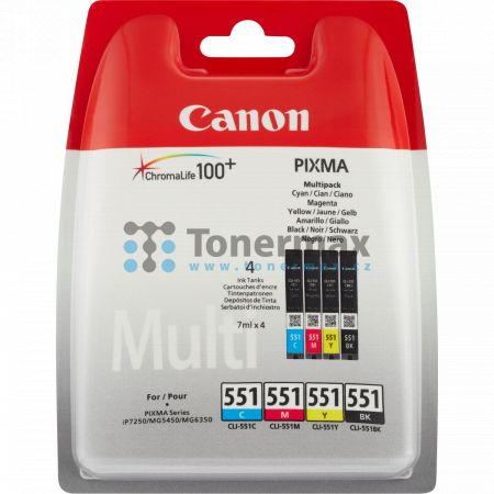 Canon CLI-551, 6509B008, originální cartridge pro tiskárny Canon PIXMA MG5450, PIXMA MG5550, PIXMA MG5650, PIXMA MG5655, PIXMA MG6350, PIXMA MG6450, PIXMA MG6650, PIXMA MG7150, PIXMA MG7550, PIXMA MX725, PIXMA MX925, PIXMA iP7250, PIXMA iP8750, PIXMA iX68