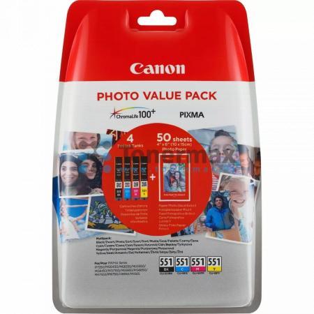 Canon CLI-551 Bk/C/M/Y + 50 x Photo Paper PP-201, 6508B005, originální cartridge pro tiskárny Canon PIXMA MG5450, PIXMA MG5550, PIXMA MG5650, PIXMA MG5655, PIXMA MG6350, PIXMA MG6450, PIXMA MG6650, PIXMA MG7150, PIXMA MG7550, PIXMA MX725, PIXMA MX925, PIX