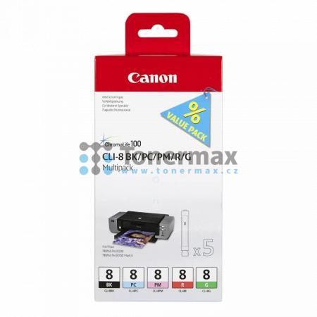 Canon CLI-8 BK/PC/PM/R/G, 0620B027, multipack, originální cartridge pro tiskárny Canon PIXMA Pro9000, PIXMA Pro9000 Mark II