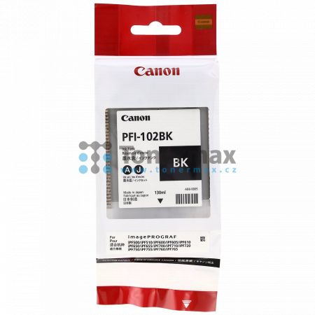 Canon PFI-102BK, 0895B001, originální cartridge pro tiskárny Canon LP17, LP24, iPF500, iPF510, iPF600, iPF605, iPF610, iPF650, iPF655, iPF700, iPF710, iPF720, iPF750, iPF755, iPF760, iPF765