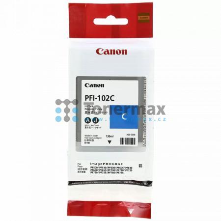 Canon PFI-102C, 0896B001, originální cartridge pro tiskárny Canon LP17, LP24, iPF500, iPF510, iPF600, iPF605, iPF610, iPF650, iPF655, iPF700, iPF710, iPF720, iPF750, iPF755, iPF760, iPF765