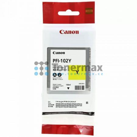 Canon PFI-102Y, 0898B001, originální cartridge pro tiskárny Canon LP17, LP24, iPF500, iPF510, iPF600, iPF605, iPF610, iPF650, iPF655, iPF700, iPF710, iPF720, iPF750, iPF755, iPF760, iPF765