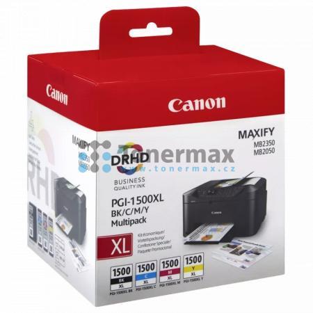 Canon PGI-1500XL BK/C/M/Y Multipack, 9182B004, originální cartridge pro tiskárny Canon MAXIFY MB2050, MAXIFY MB2150, MAXIFY MB2155, MAXIFY MB2350, MAXIFY MB2750, MAXIFY MB2755