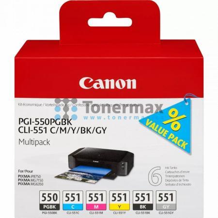 Canon PGI-550 PGBk, CLI-551 C/M/Y/BK/GY, 6496B005, multipack, originální cartridge pro tiskárny Canon PIXMA MG6350, PIXMA MG7150, PIXMA iP8750
