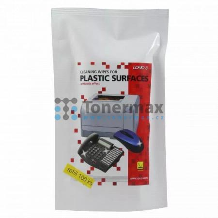Čistící trhací ubrousky na plasty, náhradní náplň, 100ks, Logo