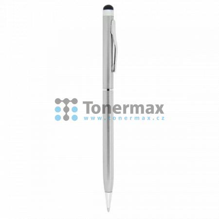 Dotykové pero kapacitní, kov, stříbrné, s kuličkovým perem