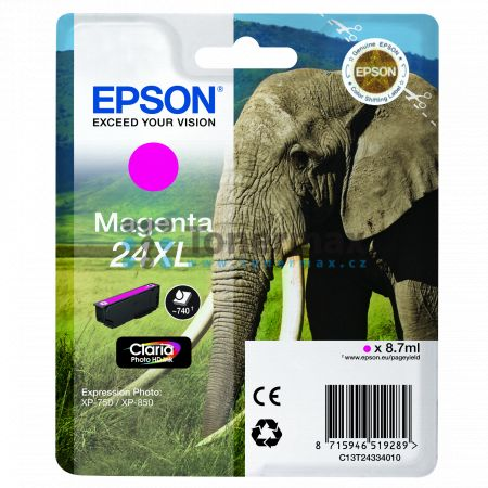 Epson 24XL, C13T24334010, originální cartridge pro tiskárny Epson XP-55, Expression Photo XP-55, XP-750, Expression Photo XP-750, XP-760, Expression Photo XP-760, XP-850, Expression Photo XP-850, XP-860, Expression Photo XP-860, XP-950, Expression Photo X