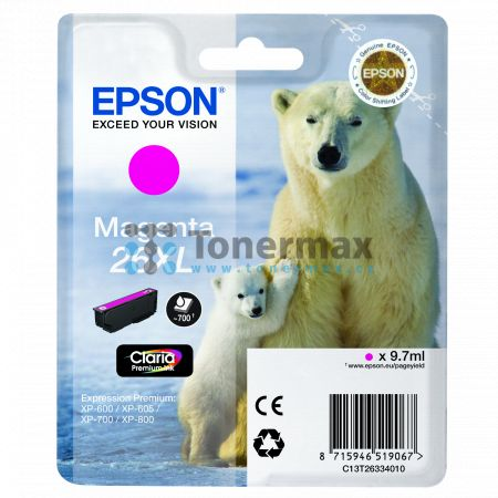 Epson 26XL, C13T26334010, originální cartridge pro tiskárny Epson XP-510, Expression Premium XP-510, XP-520, Expression Premium XP-520, XP-600, Expression Premium XP-600, XP-605, Expression Premium XP-605, XP-610, Expression Premium XP-610, XP-615, Expres