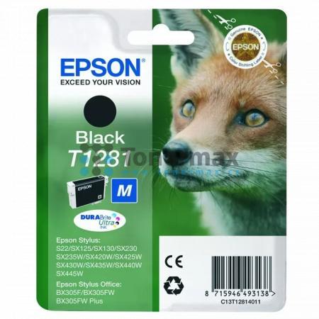 Epson T1281, C13T12814011, originální cartridge pro tiskárny Epson Stylus Office BX305F, Stylus Office BX305FW, Stylus Office BX305FW Plus, Stylus S22, Stylus SX125, Stylus SX130, Stylus SX230, Stylus SX235W, Stylus SX420W, Stylus SX425W, Stylus SX430W, S