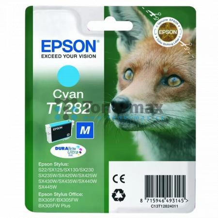 Epson T1282, C13T12824011, originální cartridge pro tiskárny Epson Stylus Office BX305F, Stylus Office BX305FW, Stylus Office BX305FW Plus, Stylus S22, Stylus SX125, Stylus SX130, Stylus SX230, Stylus SX235W, Stylus SX420W, Stylus SX425W, Stylus SX430W, S