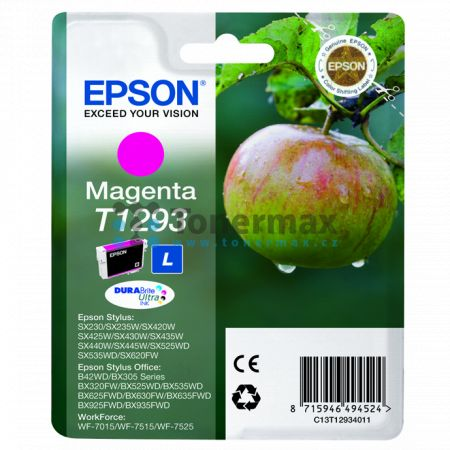 Epson T1293, C13T12934011, originální cartridge pro tiskárny Epson Stylus Office B42WD, Stylus Office BX305F, Stylus Office BX305FW, Stylus Office BX305FW Plus, Stylus Office BX320FW, Stylus Office BX525WD, Stylus Office BX535WD, Stylus Office BX625FWD, S