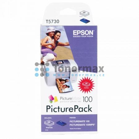 Epson T5730, C13T573040, PicturePack + 135ks fotopapír 10x15cm, originální cartridge pro tiskárny Epson PictureMate 100, PictureMate 100MPE