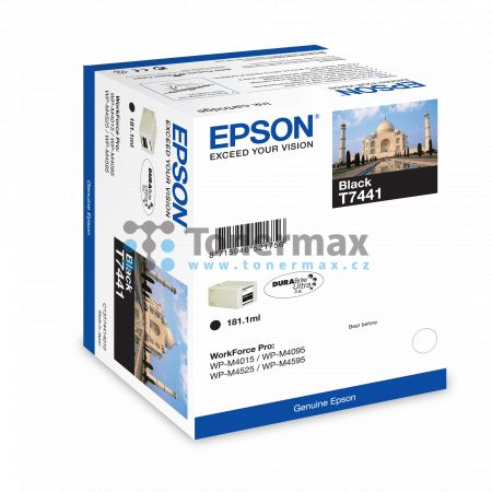Epson T7441, C13T74414010, originální cartridge pro tiskárny Epson WorkForce Pro WP-M4015, WorkForce Pro WP-M4015DN, WorkForce Pro WP-M4095, WorkForce Pro WP-M4095DN, WorkForce Pro WP-M4525, WorkForce Pro WP-M4525DNF, WorkForce Pro WP-M4595, WorkForce Pro