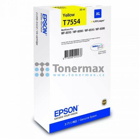 Epson T7554, C13T755440 (XL), originální cartridge pro tiskárny Epson WorkForce Pro WF-8010, WorkForce Pro WF-8010DW, WorkForce Pro WF-8090, WorkForce Pro WF-8090D3TWC, WorkForce Pro WF-8090DTW, WorkForce Pro WF-8090DTWC, WorkForce Pro WF-8090DW, WorkForc