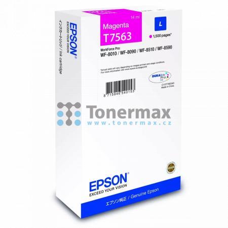 Epson T7563, C13T756340 (L), originální cartridge pro tiskárny Epson WorkForce Pro WF-8010, WorkForce Pro WF-8010DW, WorkForce Pro WF-8090, WorkForce Pro WF-8090D3TWC, WorkForce Pro WF-8090DTW, WorkForce Pro WF-8090DTWC, WorkForce Pro WF-8090DW, WorkForce