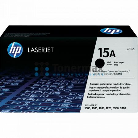 HP 15A, HP C7115A, originální toner pro tiskárny HP LaserJet 1000, LaserJet 1000w, LaserJet 1005, LaserJet 1200, LaserJet 1200n, LaserJet 1200se, LaserJet 1220, LaserJet 1220se, LaserJet 3300, LaserJet 3310, LaserJet 3320, LaserJet 3320n, LaserJet 3330, L