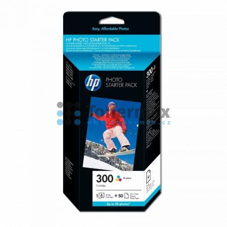 HP 300, HP CG846EE + 50 listů / 10 x 15 cm, originální cartridge pro tiskárny HP Deskjet D1660, Deskjet D1668, Deskjet D2530, Deskjet D2545, Deskjet D2560, Deskjet D2645, Deskjet D2660, Deskjet D2668, Deskjet D2680, Deskjet D5560, Deskjet F2420 All-in-One