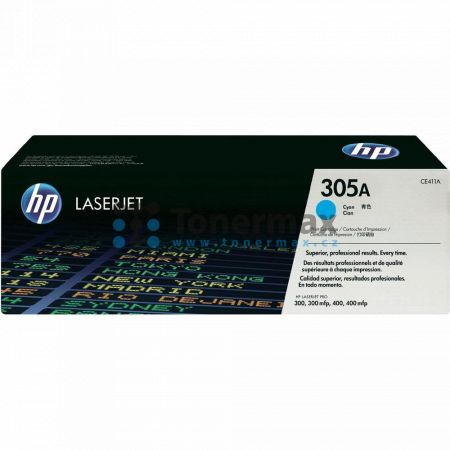 HP 305A, HP CE411A, originální toner pro tiskárny HP LaserJet Pro 300 color M351a, LaserJet Pro 300 color M351, LaserJet Pro 300 color MFP M375nw, LaserJet Pro 300 color MFP M375, LaserJet Pro 400 color M451dn, LaserJet Pro 400 color M451, LaserJet Pro 40